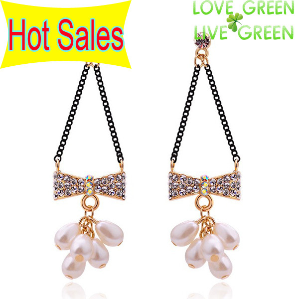 Free Shipping New Arrival 18K GP Pearl Drop Beads CZ AAA Rhinestones Knot Earrings Ear Clip Fashion crystal Jewelry Set 2878(China (Mainland))
