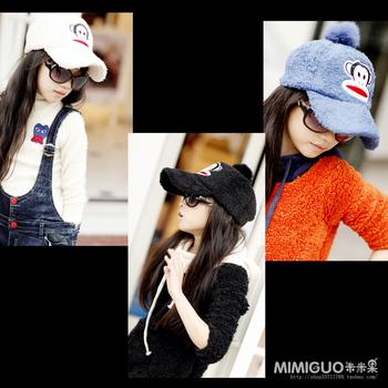 Children's clothing female child cartoon monkey ball plush duck tongue baseball cap parent-child cap
