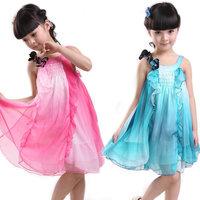 Free Shipping - 2013 Girls' Sleeveless Harness Dress Kids Skir Beautiful Flowers Children Summer Dress
