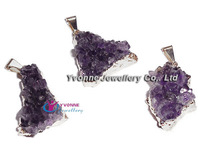 YA6668 Natural Amethyst Geode Druzy  Plated Sliver color Pendant 19-30mm
