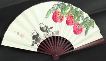 """Fan folding fan """"bird fan hand-painted fan silk folding fan 2222"""