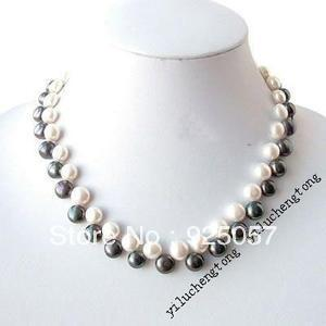 "Button 7-8mm Real White & Black Freshwater Cultured Pearl Necklace 18"" Fashion jewelry"