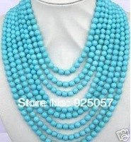 "8Rows rondes 6 mm blue turquoise necklace 17-24""Fashion jewelry"