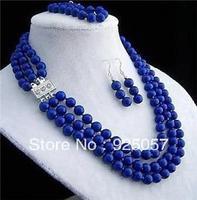 8mm 3rows lapis lazuli necklace bracelet earring setsFashion jewelry