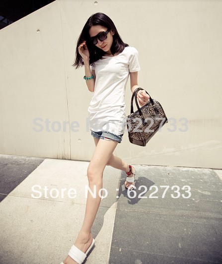 PE New arrival woman bag leopard print purse crystal transparent beach bucket handbag for lady Free sipping high quality(China (Mainland))