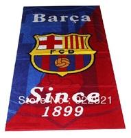 Free shipping football fan microfiber fabric big bath towel with barca team logo. football fan gifts and souvenirs