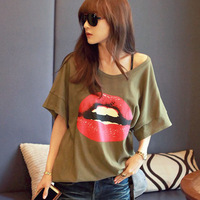 2014 summer street fashion red lip print loose large medium-long women t-shirt short-sleeve top women's