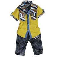 Children's clothing child summer male 2013 set child 100% cotton short-sleeve shirt set p58