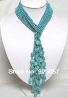"50"" 4MM Beautiful 4 Rows Turquoise Necklace Fashion jewelry"
