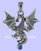 free shipping 5pcs a lot classic antique silver plated religious dragon pendants with crystal
