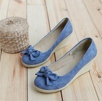 free shipping 2013 spring and autumn bow round toe casual fashion gentlewomen wedges female shoes flat single shoes