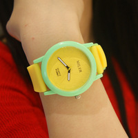 Color block jelly table silica gel large dial color block women's decoration quartz watch student watch