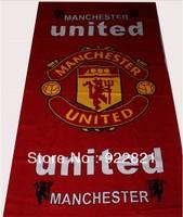 Free shipping football fan microfiber fabric big bath towel with man u team logo.football fan gifts and souvenirs