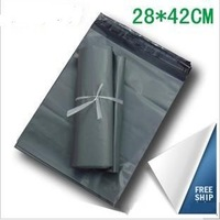 Factory Wholesale 28x42cm Postal Mailing Bags Self Adhesive DestructiveCourier Experss Plastic Bags 100pcs Gray JJ-018