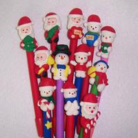 Free shipping hand-made Santa snowman polymer clay ballpoint pens Christmas gift, holiday season, wholesale