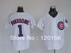 2013 Chicago Cubs 1 Kosuke Fukudome White Pinstripe Baseball Jerseys Embroidered Logo Free shipping(China (Mainland))