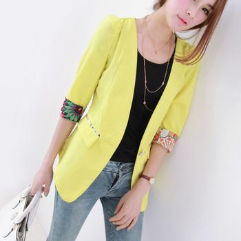 2013 summer women's formal paragraph open front half sleeve patchwork slim blazer suit female ac868