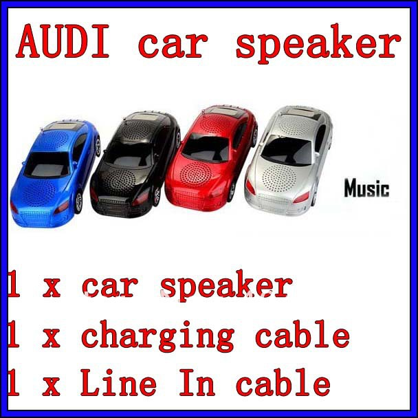 portable Audi car speaker with FM radio portable car speaker led display screen support TF card /USB disk 5pcs/lot(China (Mainland))