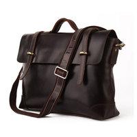 2014 new Chocolate Color Genuine Leather Men's Briefcase /business handbag/Messenger Bag