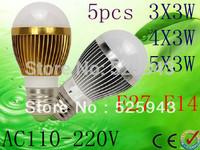 5X Free shipping  Dimmable Bubble Ball Bulb 9W 12W 15W E14 E27 B22 GU10 High power Globe light LED Light Bulbs Lamp Lighting