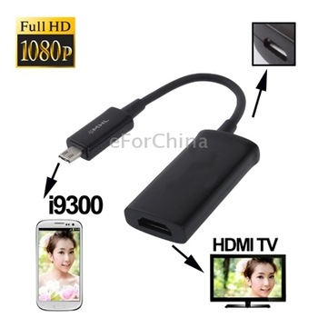 Micro USB MHL to HDMI AF Cable for Samsung Galaxy SIII / i9300, Support 1080P Full HD Output (Length: 10.5cm), with Logo