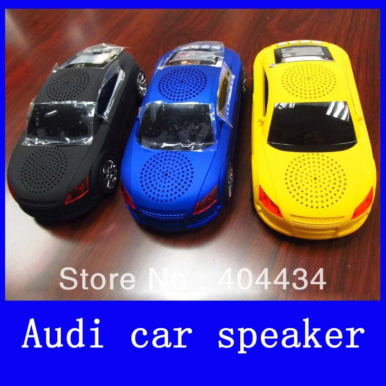 popular Audi A8 car shaped speaker with FM radio portable car speaker display led screen support TF card /USB disk free shipping(China (Mainland))