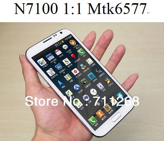 NEWEST!!! HK post free shipping real 1:1n7100 phone MTK6577 dual core galaxy note 2 android 4.1 5.5 inch mobile phone(China (Mainland))