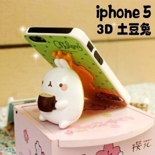 3d three-dimensional rabbit pig protective case iphone5 phone case cartoon mount shell  for apple   5 phone case