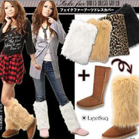 FREE SHIPPING! 2012 autumn and winter fur shoes cover boots foot wrapping sets vivi ankle sock leggings set long design short