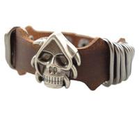 2013 trendy fashion punk skull head skelton vintage wide genuine leather chain cuff unisex mens bracelet jewelry bangle
