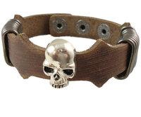 2013 trendy fashion punk skull head skelton vintage wide genuine leather chain cuff unisex mens bracelet jewelry for women 0003
