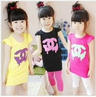 107-353 5sets/lot girl's T-shirt,3 colors Long section of the t - shirt kids tshirt  Wholesale