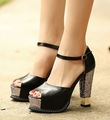 Wholesale,Ankle Strap PU #588 Peep Toe High Heel Platform Sandals,US 5-8.5,Womens/Ladies Shoes