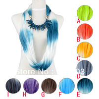 Free shipping ,Sale newest design rainbow color fold style 2013 summer ladies polyester charms pendant scarf  necklace ,Nl-1987