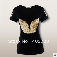 Angel wings Sequined slim O-neck short sleeve women's cotton t-shirt color black Free shipping  t shirt