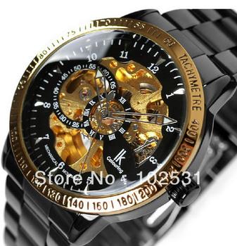 2013 Luxury IK Brand Black Skeleton Dial Automatic Mechanical Men's Military Steel Watch