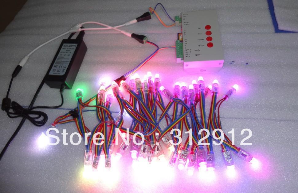 100 stück 5v ws2801 12mm pixel node+t- 1000 sd-karte controller+5v/5a macht Adapter-Kit