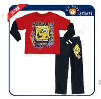 2013 new children's children's pajamas pajamas clothes sleeve cotton cartoon SpongeBob pajamas girl boy suit set free shipping