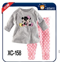 2013 childrens minnie mouse pajamas sleepwear clothes sets cartoon pajama girls purple tshirts pants clothing set 100% cotton