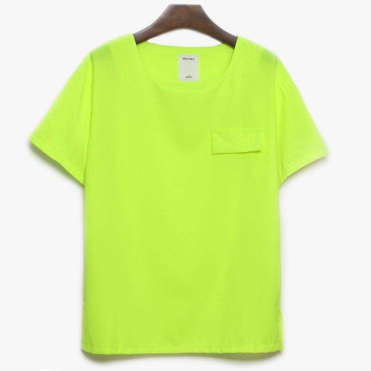 2013 new women s t shirt short sleeve neon green candy color t shirt