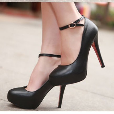 2013 plain all-match button sexy high-heeled platform shoes black high-heeled shoes(China (Mainland))