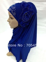 SYF033b beautiful muslim hijab islamic scarf with flower free shipping,fast delivery,assorted colors