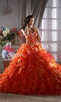 Free Shipping Custom Made 2014 Popular A-Line Sweetheart Floor Length Organza Beaded Orange Evening Prom Gowns Dresses
