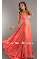 Hot Free Shipping Custom Made 2013Gorgeous A line Sweetheart Sweep/Brush Train Chiffon and Satin Prom Dresses