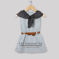 New Fashion Baby Girls Dress Grey Special White PolkatDots Collar with Bow 2013 Kids Summer Princess Dresses with Belt Garment