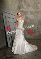 Lace Up Fashion 2014 New A-Line Sweetheart Floor Length Applique Saatin Ruched White Formal Wedding Dresses Gowns-1011