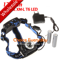5pcs/lot SecurityIng 1200Lm CREE XML T6 LED Zoomable Headlamp Headlight Rotating Head Light + 2 x 18650 Battery + Charger