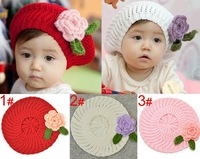 Lovely baby beret with Flower Handmade winter hat for kids