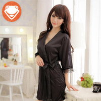 Summer silk viscose female sexy lounge robe spa bathrobe set black purple sleepwear