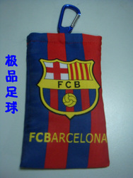 Free shipping/Barcelona football club Double layer cotton cell phone pocket belt/can mix order(China (Mainland))